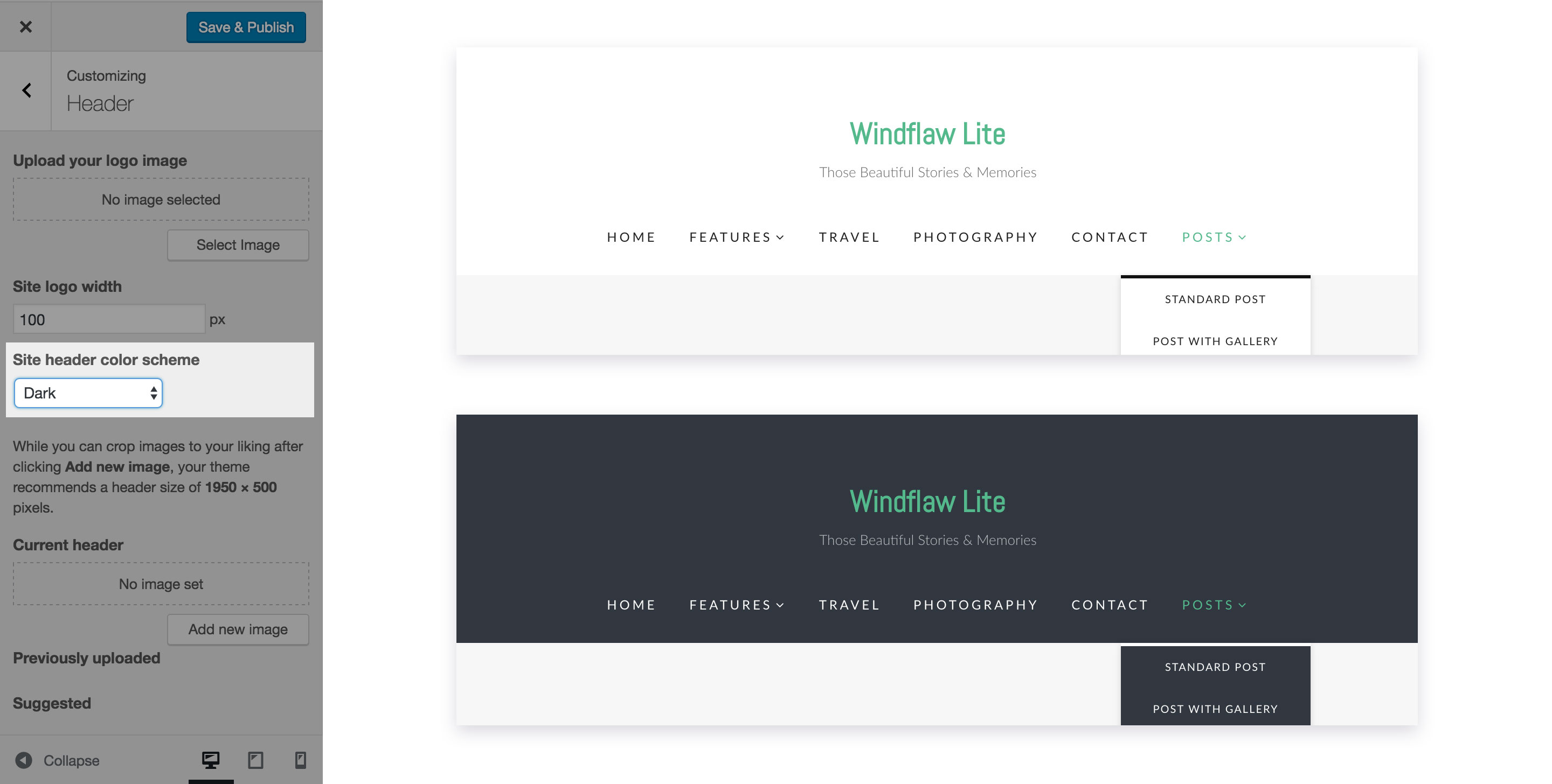 Site header color switch.